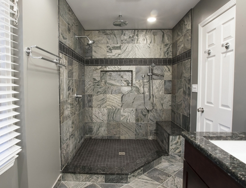 Custom shower base – slate stone tile