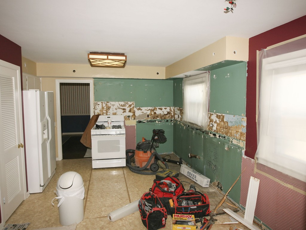 We have removed kitchen cabinets and started demolition