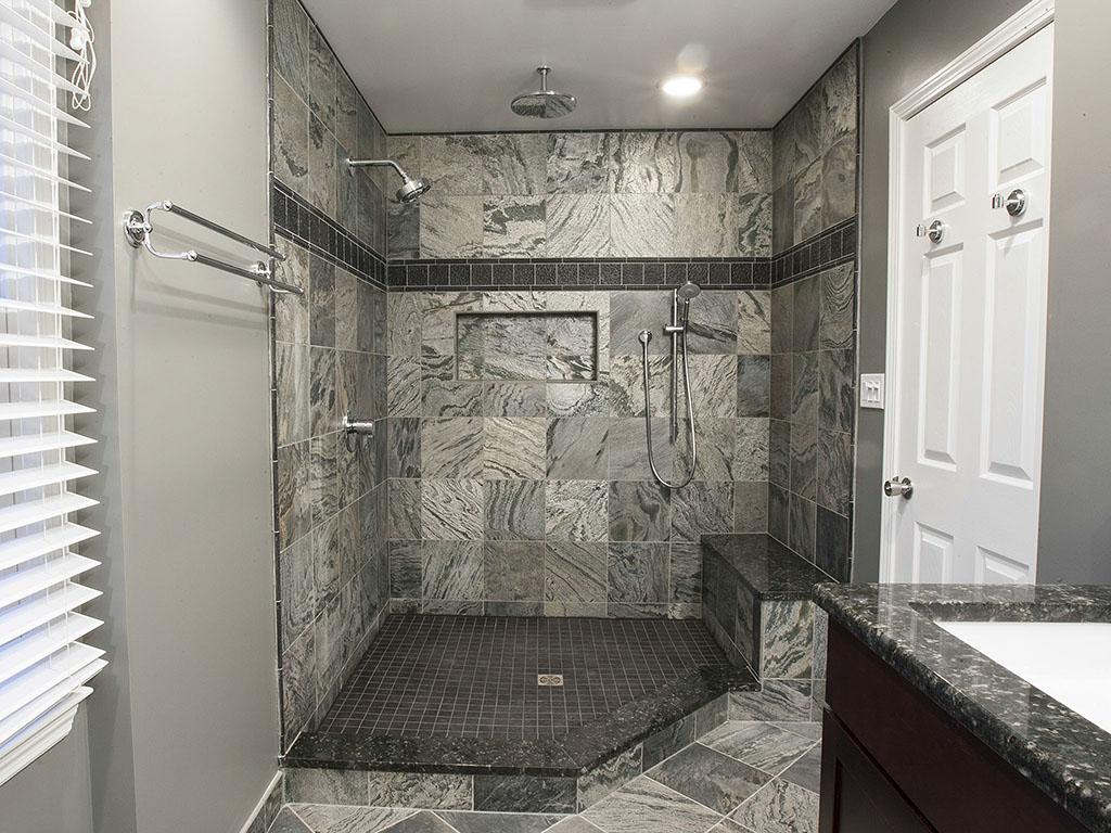 Shower finished with slate tile