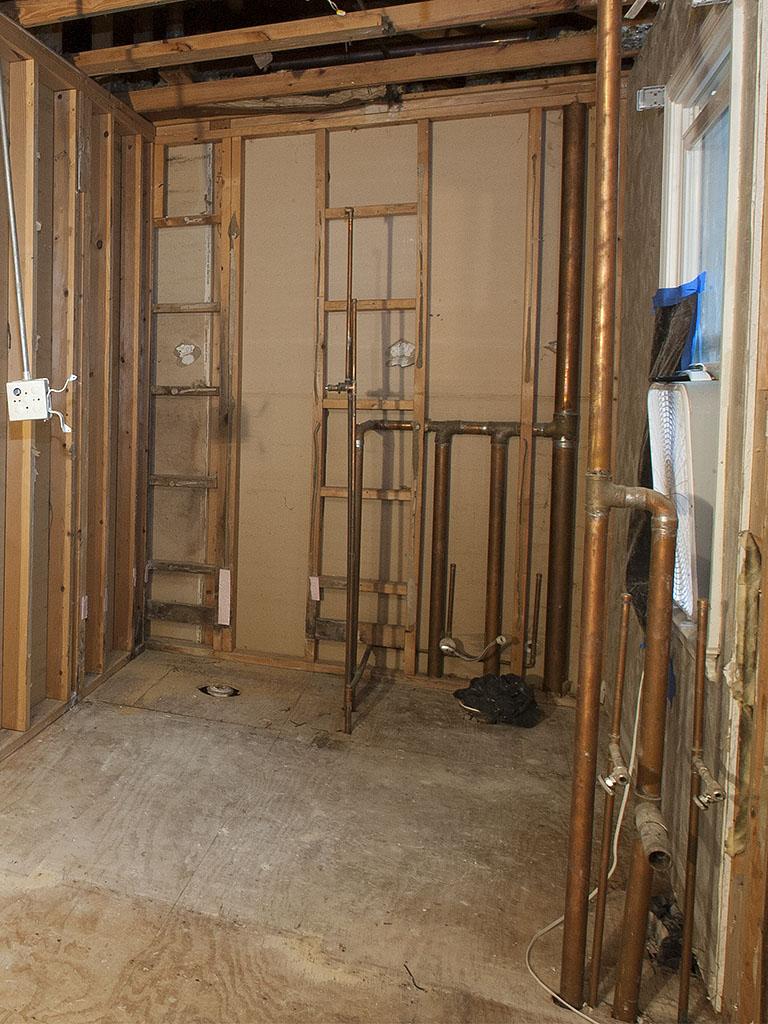 old bathroom after demolition