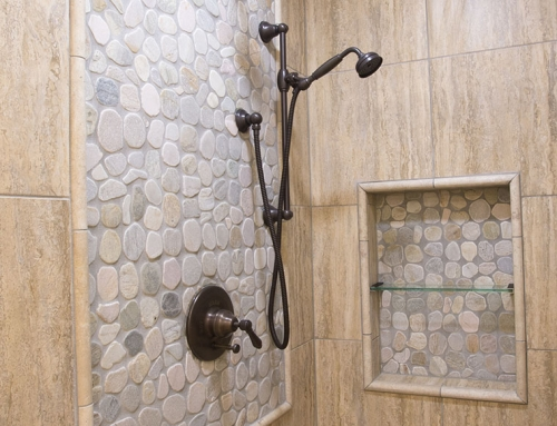 Pebble stone bathroom